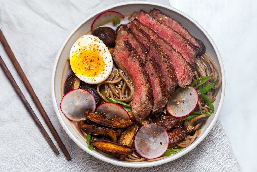 Beef Noodle Bowls with Mushrooms