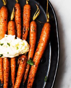 Harissa-Maple Carrots with Whipped Ricotta_MidPage