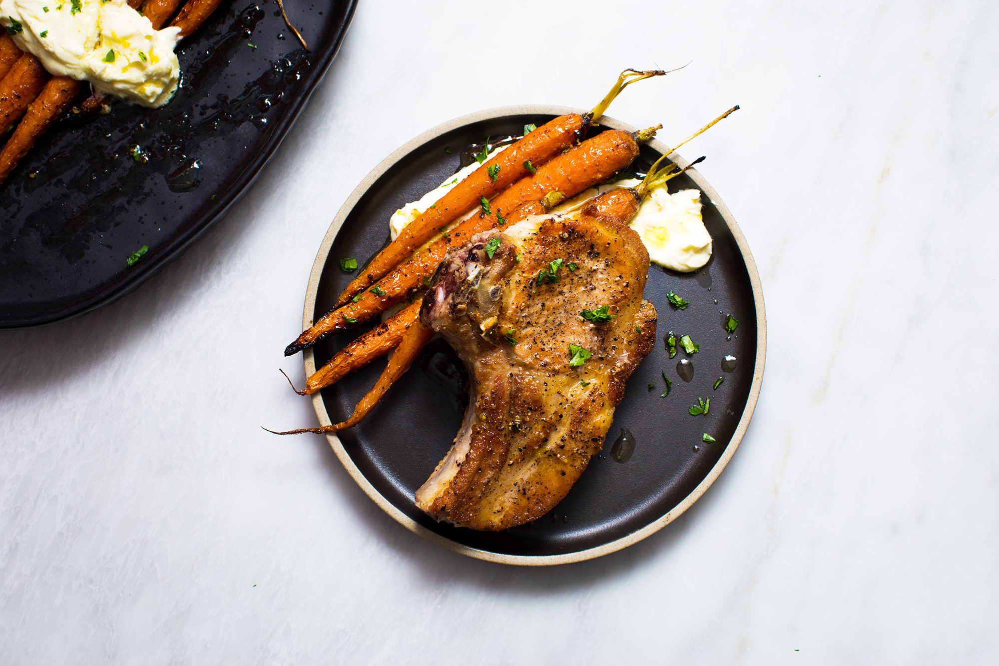 Bone In Pork Chops With Harissa Maple Roasted Carrots And
