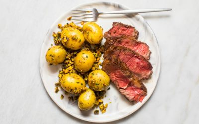 Easy Ribeye Dinner with Potatoes and Spicy Pistachios