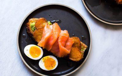 Avocado Toast with Roasted Sweet Potatoes, Smoked Salmon, and Maple-Lemon Vinaigrette
