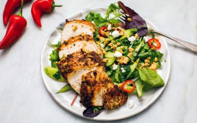 Simple Salad with Chicken and A Toasted Cashew Topping