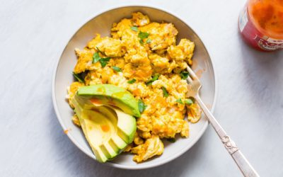 Simple Scrambled Eggs with an Avocado