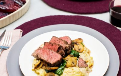 An Elegant New Year's Eve Dinner for Two: Filet Mignon, Mushrooms and Spinach, Brown Butter Potatoes and Red-Wine Poached Pears