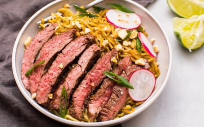 Simple Scallion-Ginger Noodles with Skirt Steak