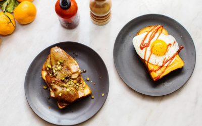 Breakfast Toast for Two: Caramelized Pear Toast and Egg, Cheese, and Gochujang Toast