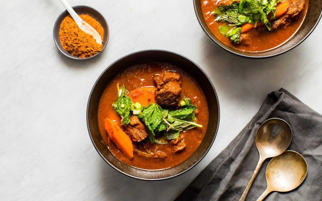 Ethiopian-Inspired Beef Stew with Homemade Berbere and Mint