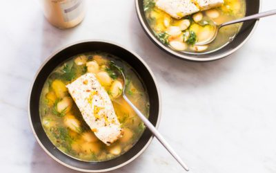 Simple Poached Fish with Great Northern Beans and Herbs