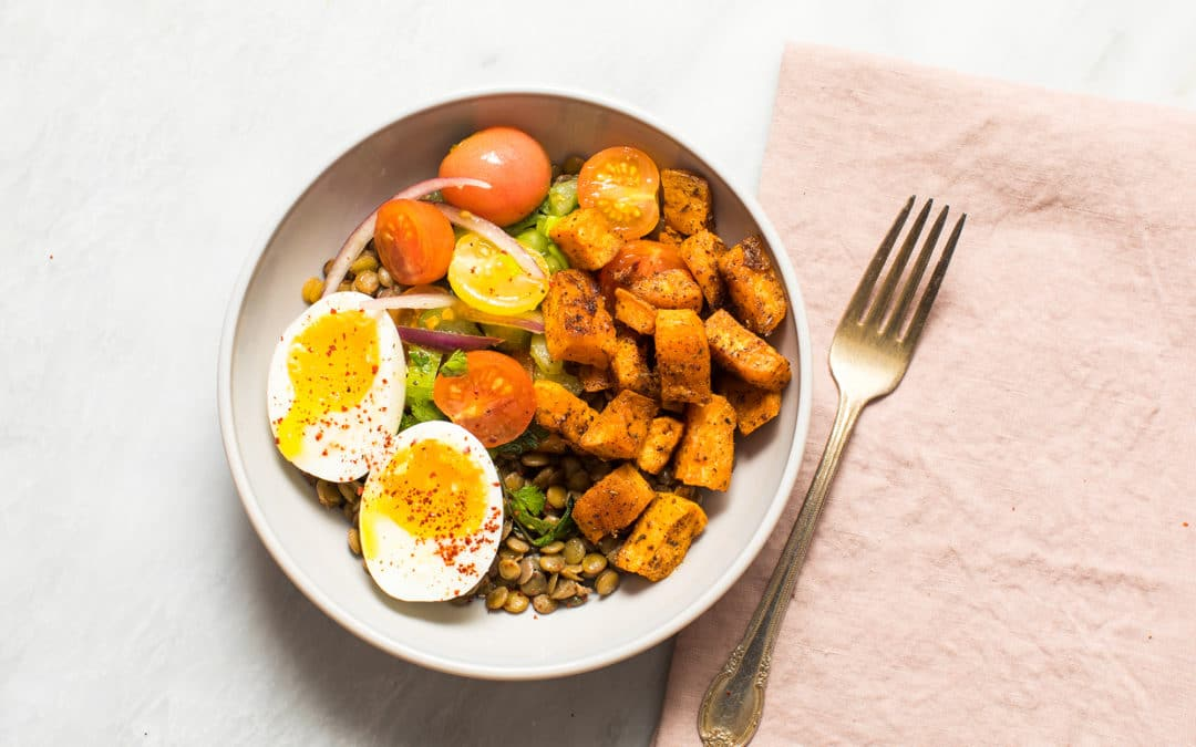 Lentil Breakfast Bowl with Roasted Sweet Potatoes