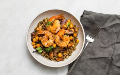 Warm Lentil Salad with Shrimp, Spicy Chickpeas, and Charred Onions