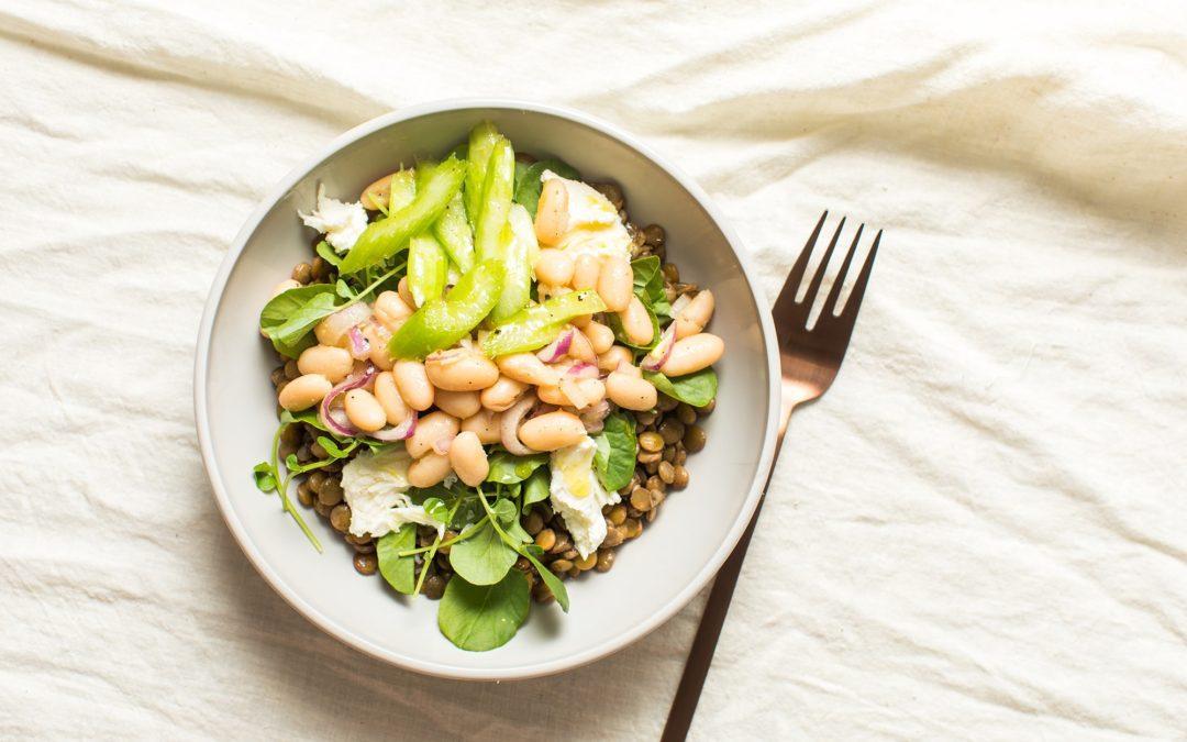 Vegetarian Lentil Salad Bowl with White Beans
