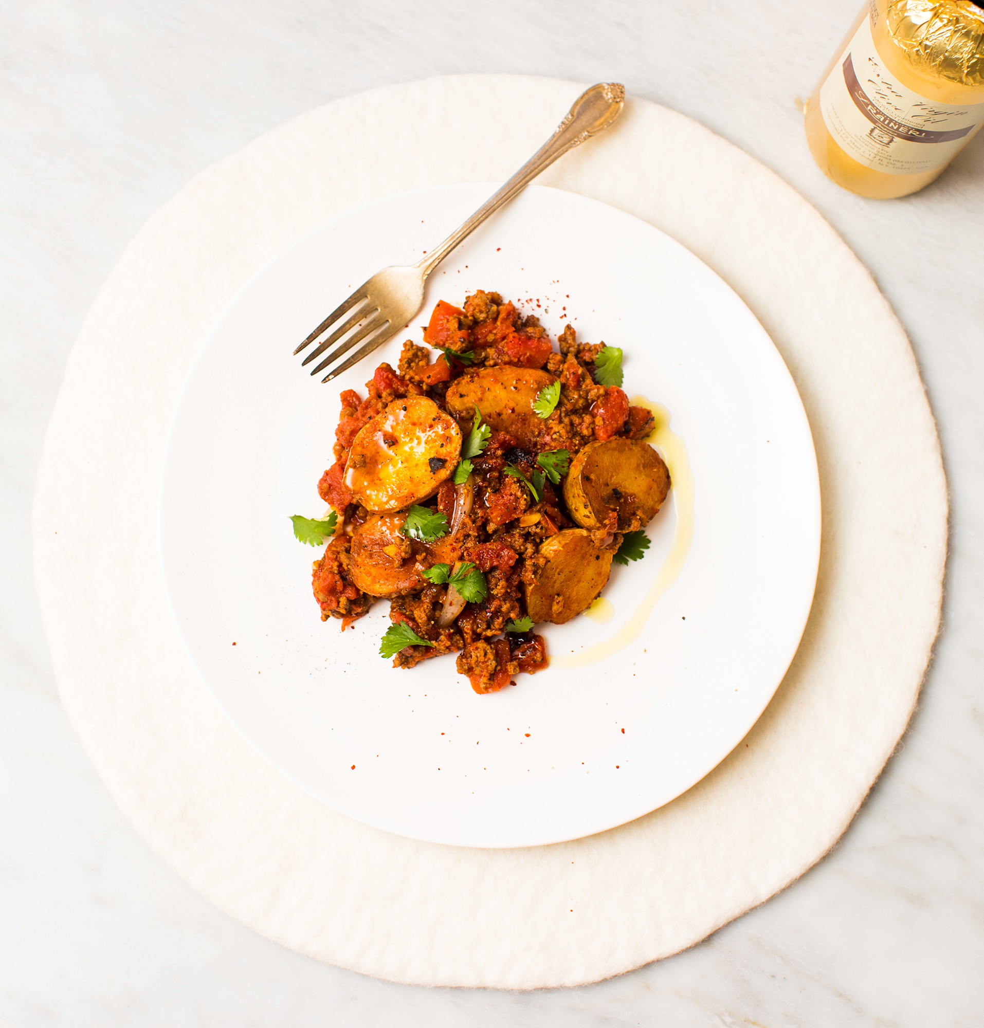 Simple ground beef with tomatoes harissa and roasted potatoes want even more recipes delivered to your inbox forumfinder Gallery