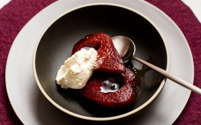 Red Wine Poached Pears with Orange-Scented Whipped Cream