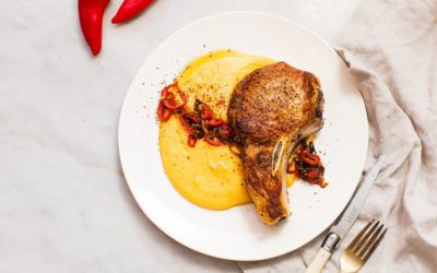 Pork Chops with Creamy, Cheesy Polenta and Pan-Fried Shallots and Chili Peppers