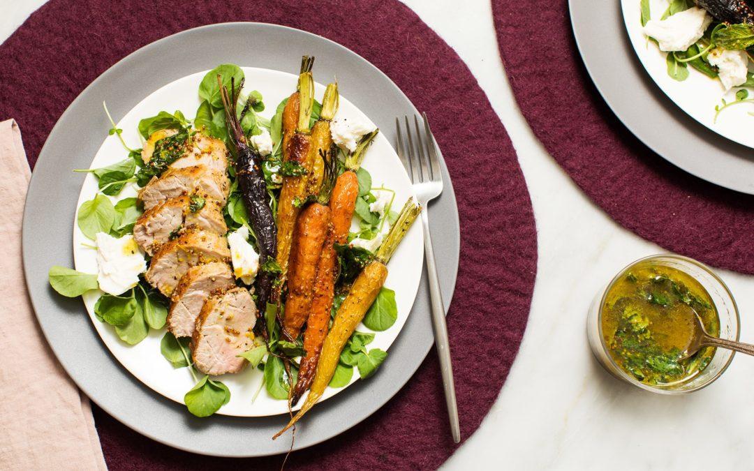 Seared Pork Tenderloin with Roasted Carrots, Fresh Mozzarella, and a Lemon-Mint Dressing