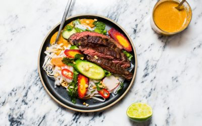 Skirt Steak with Rice Noodles, Peanut Sauce, and Quick-Pickled Herbs and Veggies