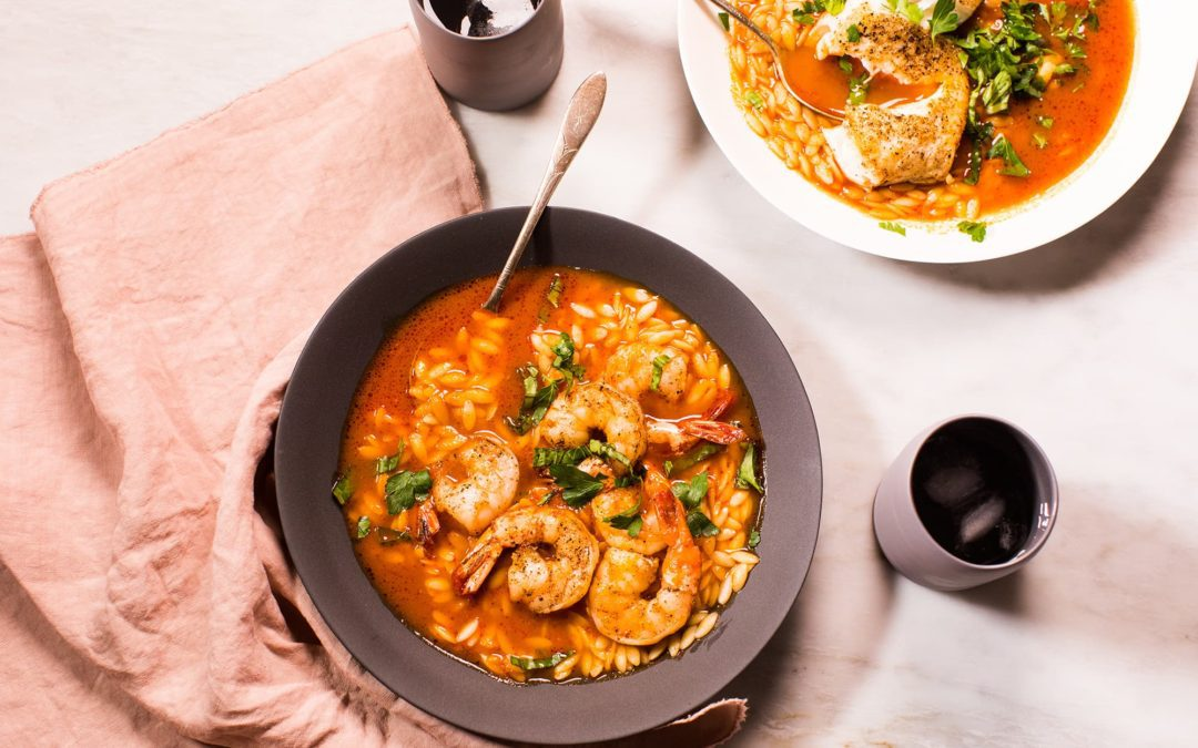 Simple Tomato Broth with Orzo and Seafood
