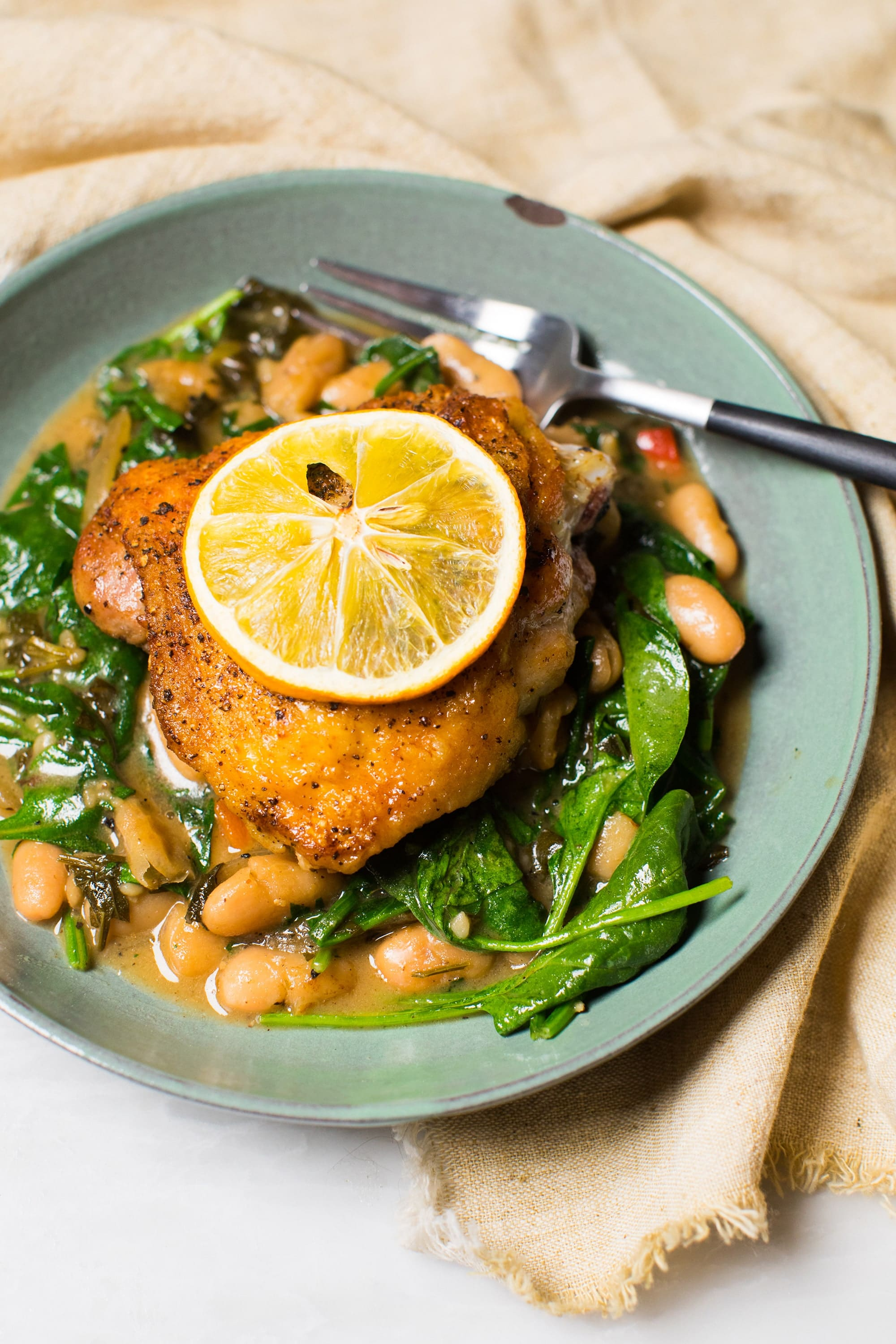 Simple One-Pot Lemon Chicken with Beans and Spinach Recipe!