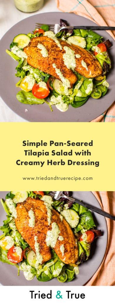 Simple Pan-Seared Tilapia Salad – Pin it!