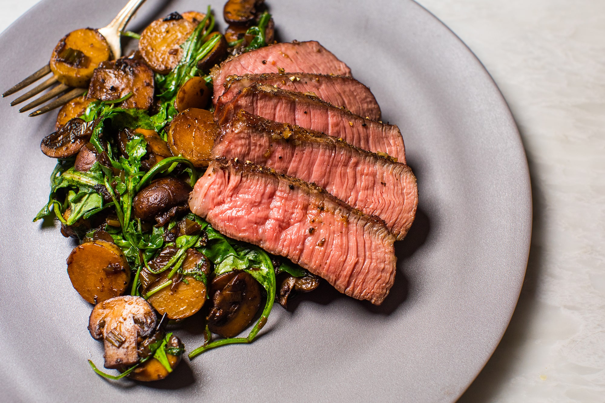 Reverse-Seared Steak: Sirloin Steak with Mushrooms and Potatoes