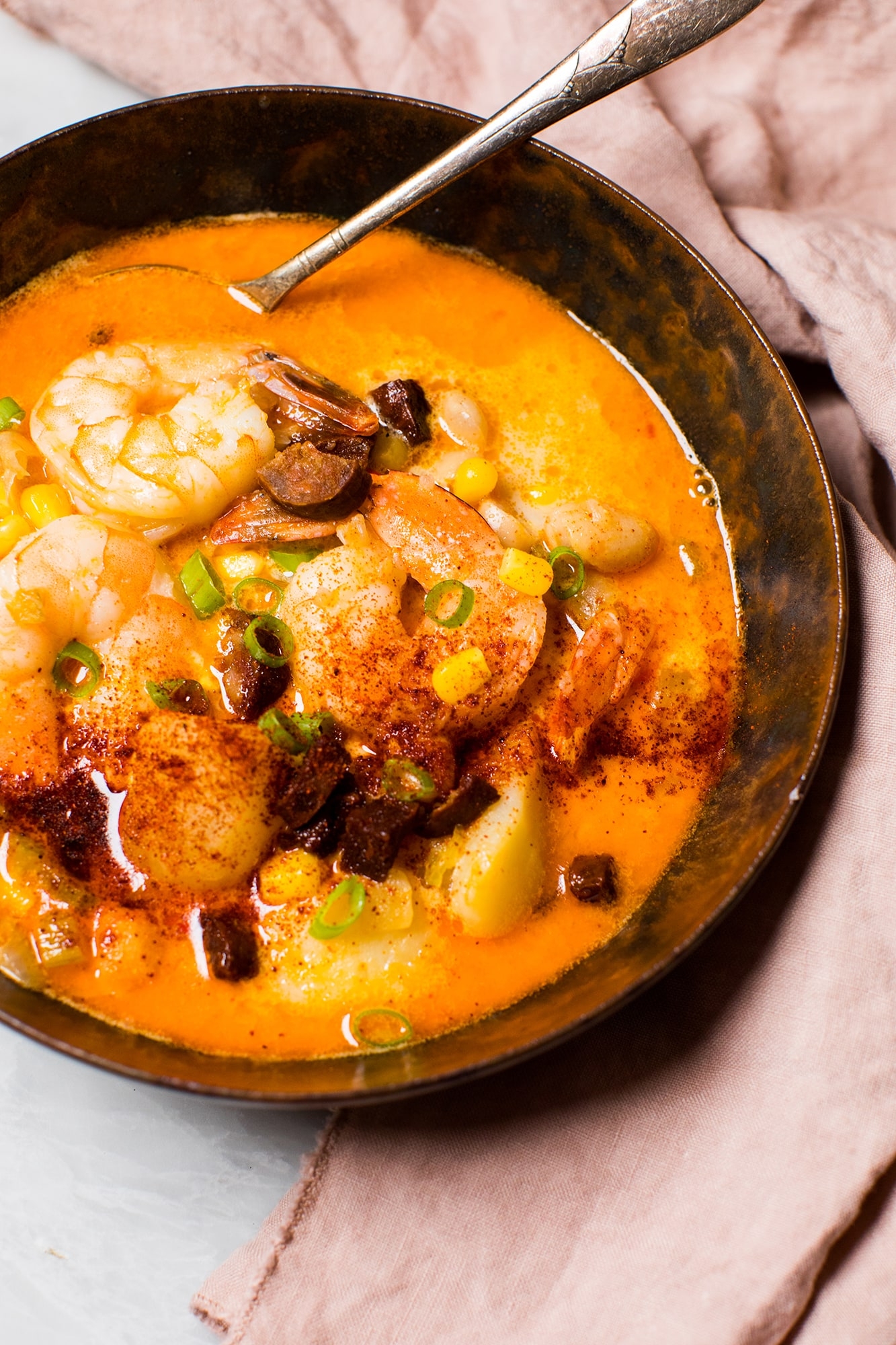Spicy Shrimp And Corn Chowder With Chorizo Tried Amp True