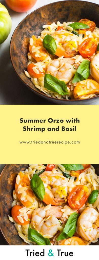 Pin Summer Orzo with Shrimp and Basil for Later!