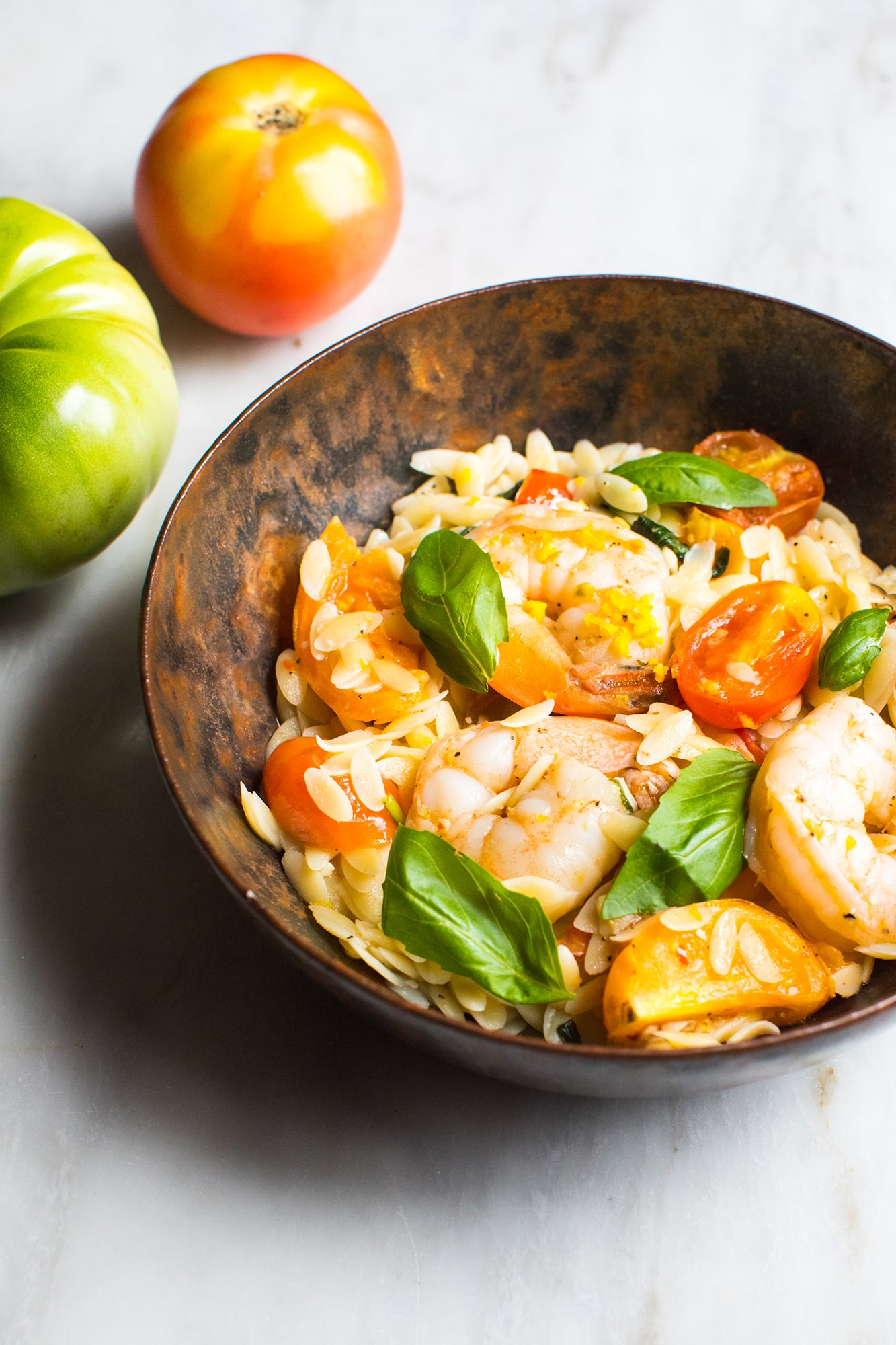 Summer Orzo with Shrimp and Basil