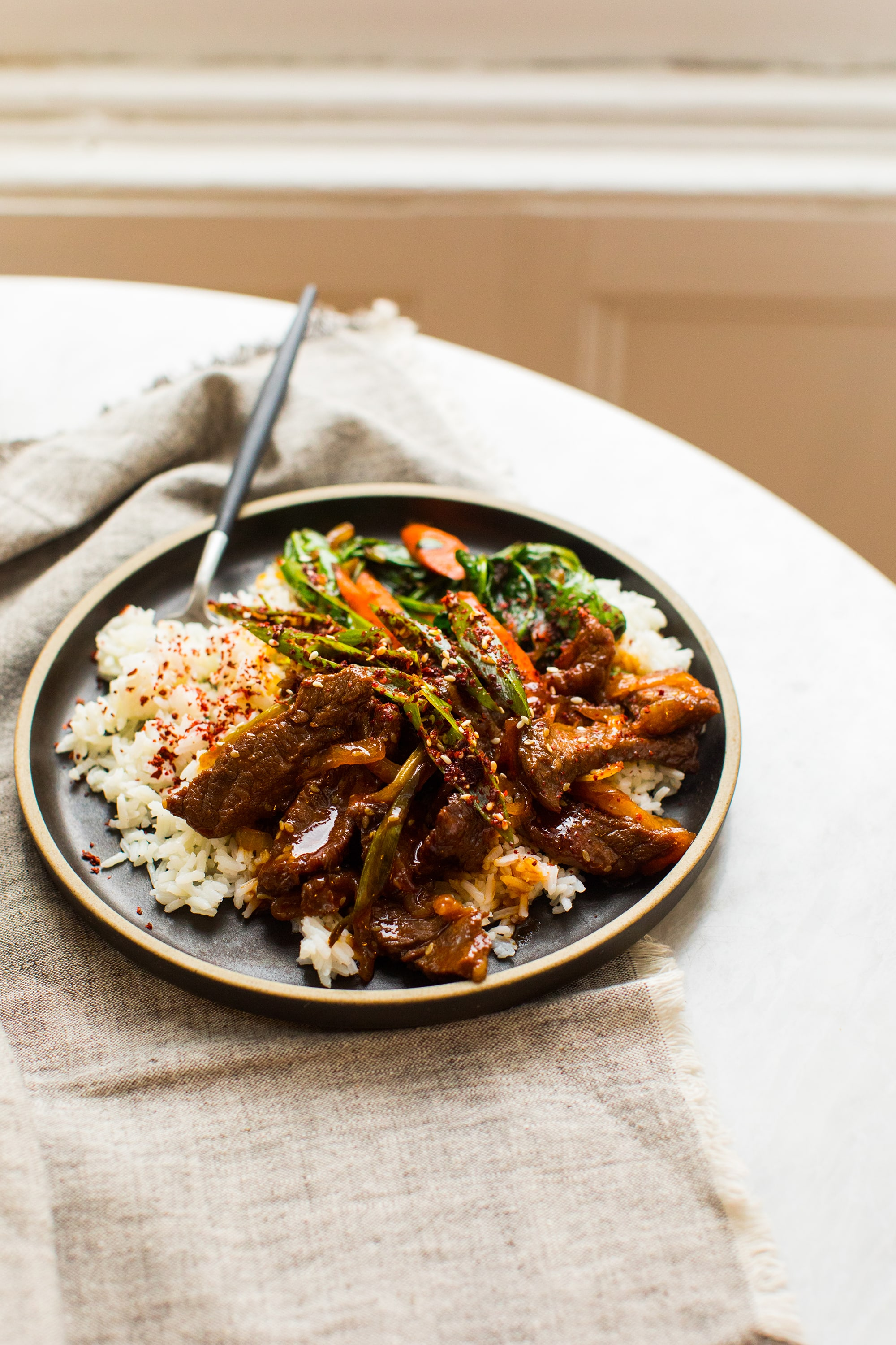 Spicy Gochujang Beef and Rice with Sautéed Vegetables