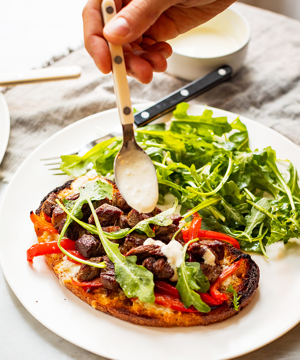Steak Tartines with Red Peppers and Horseradish Mayonnaise_