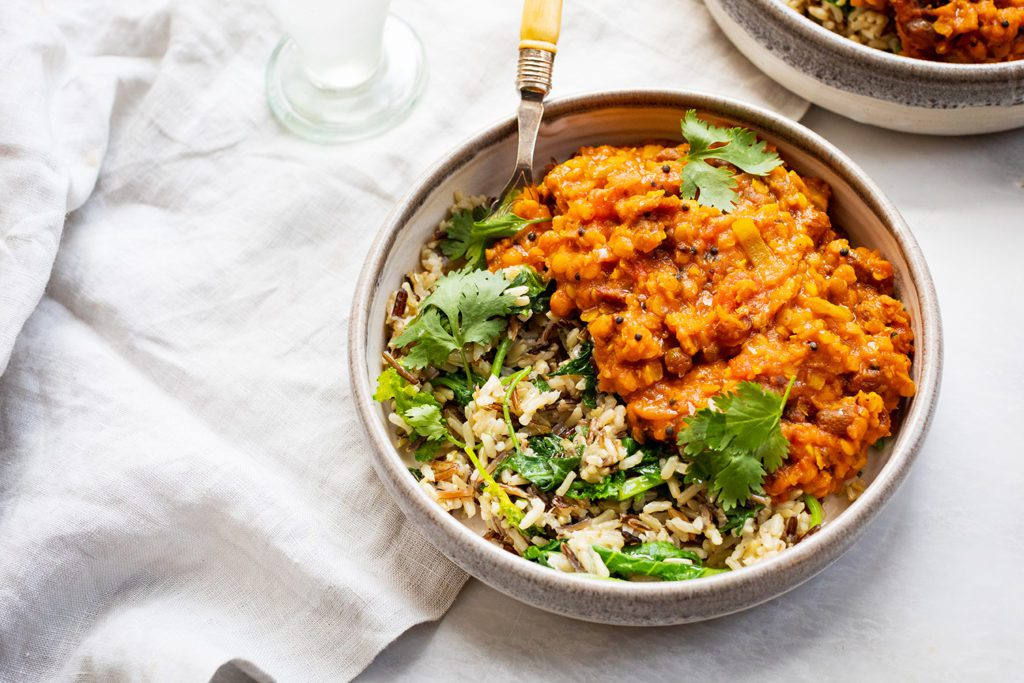 Sweet and Spicy Red Lentils with Wild Rice and Greens