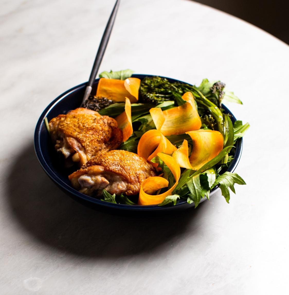 Mizuna Salad with Roasted Chicken