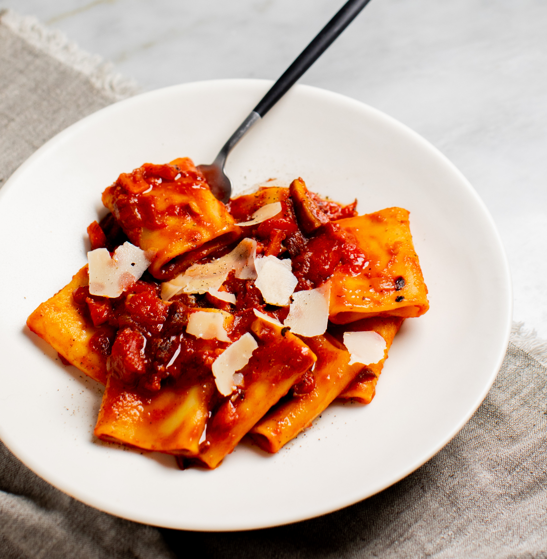 Paccheri Pasta with Bacon in a Smoky Tomato Sauce