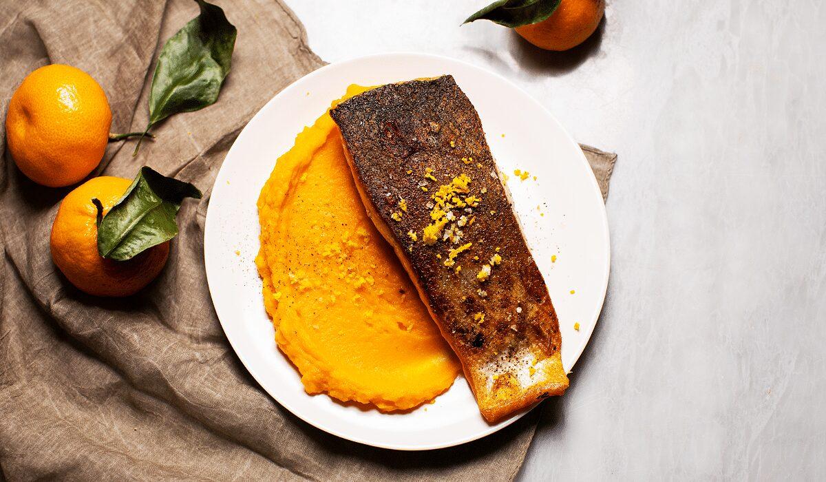 Seared Salmon with Orange-Maple Sweet Potatoes_Hero