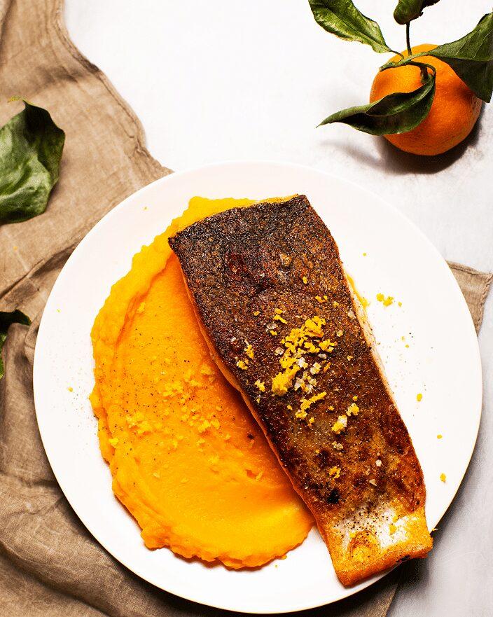Seared Salmon with Orange-Maple Sweet Potatoes_MidPage – 1