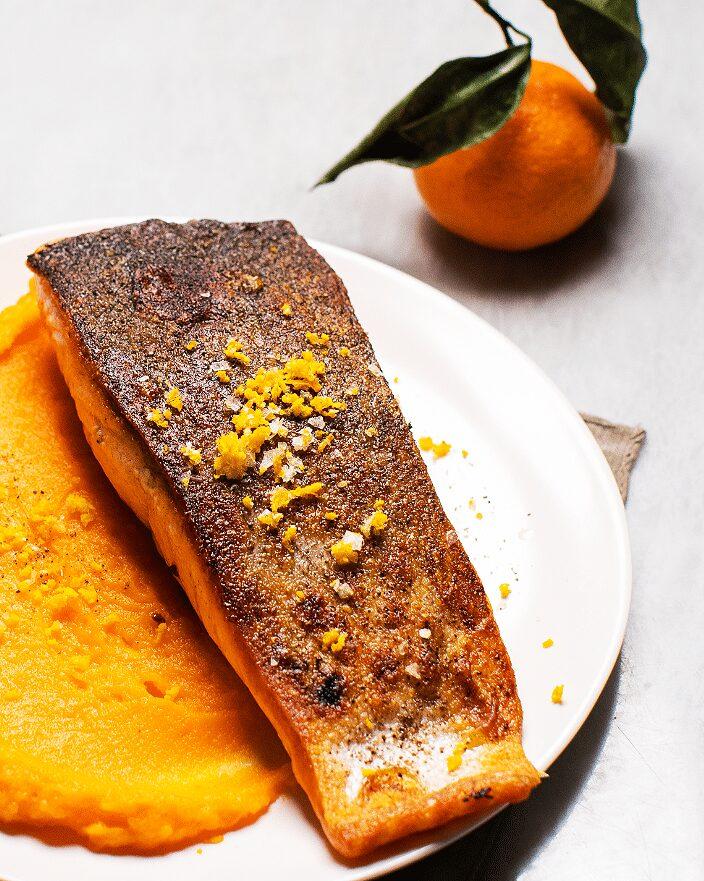 Seared Salmon with Orange-Maple Sweet Potatoes_MidPage