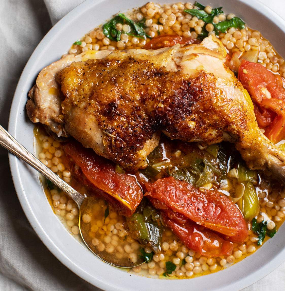 Braised Chicken with Leeks and Tomatoes