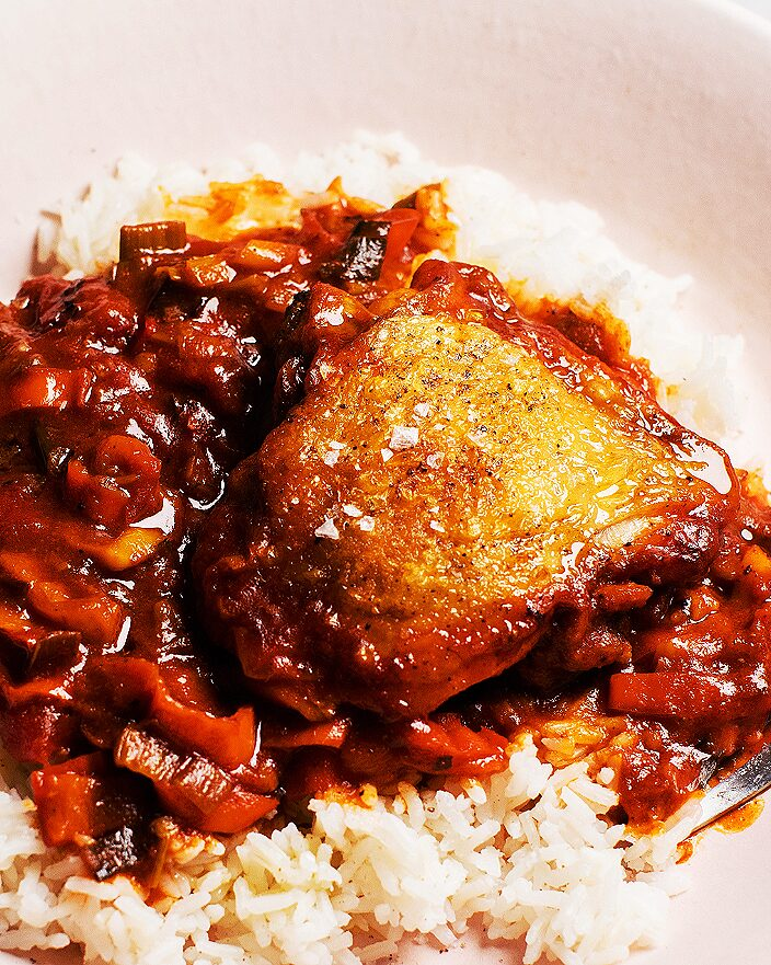 Crispy Chicken with Stewed Sweet Peppers_MidPage