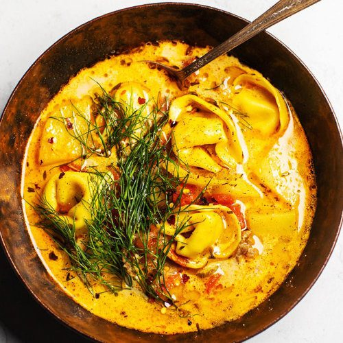tortellini soup with sausage and fennel