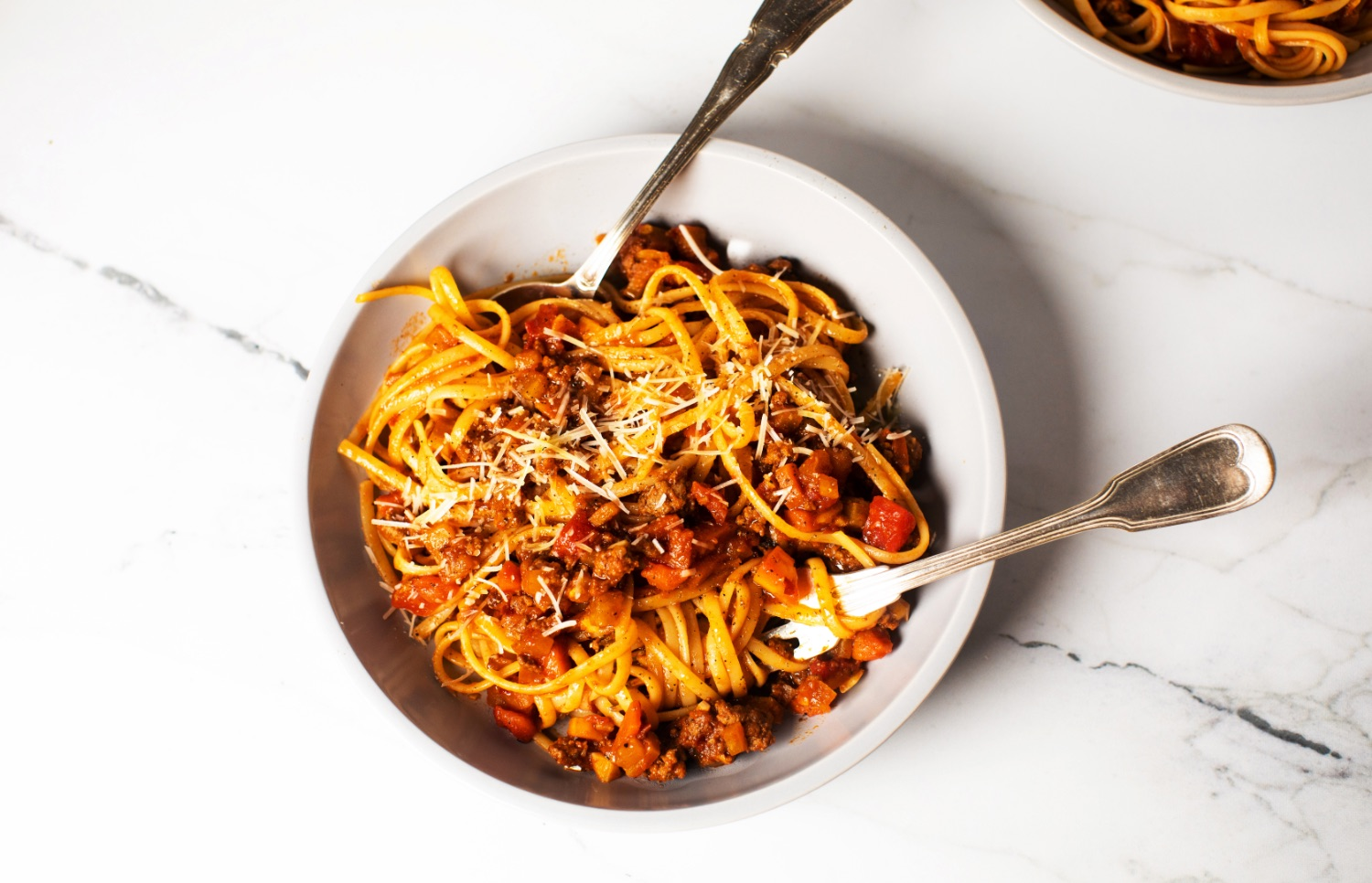 Linguine with Golden Beet and Beef Ragù