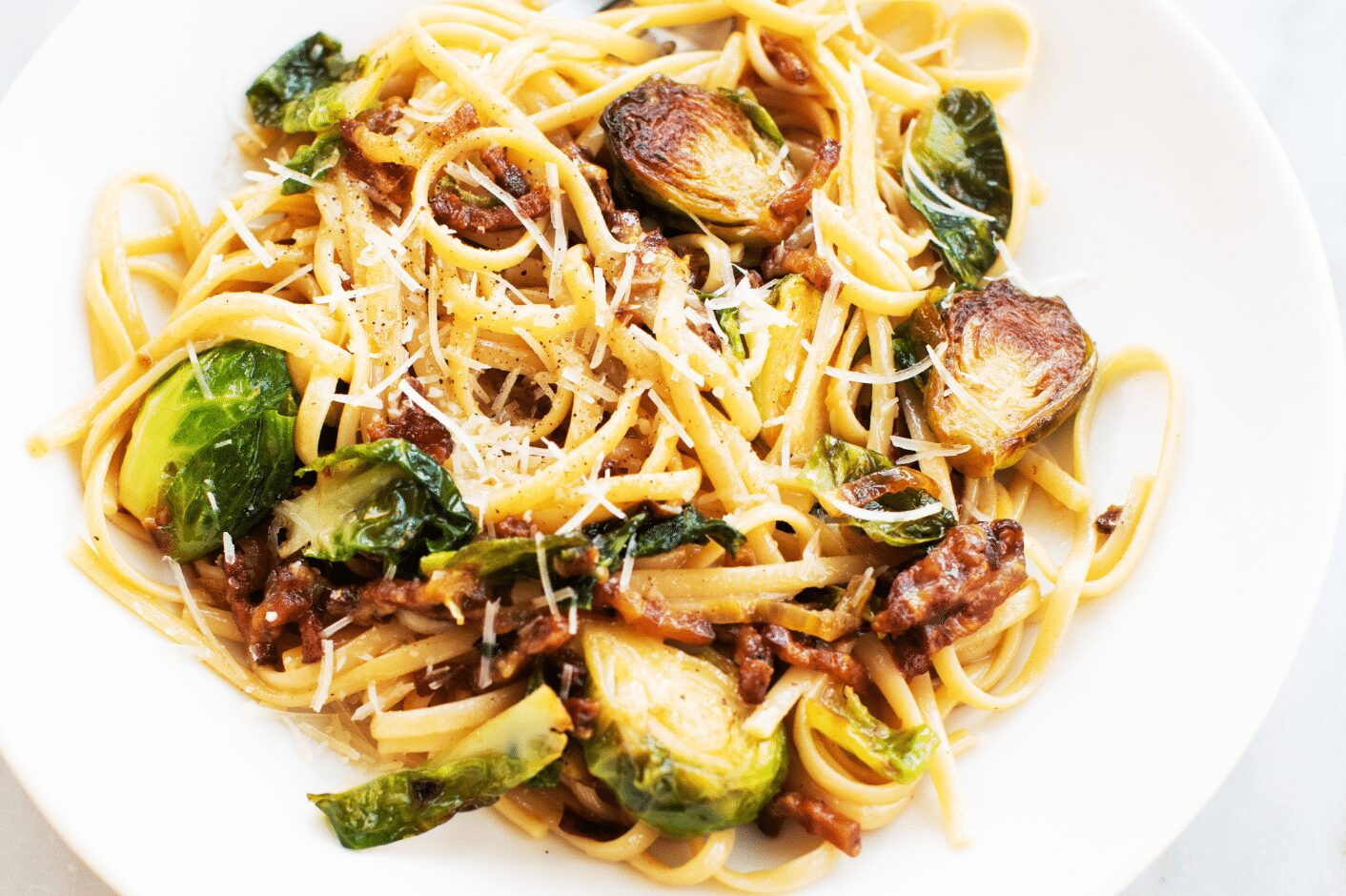 Linguine and Brussels Sprouts in Truffle Cream Sauce