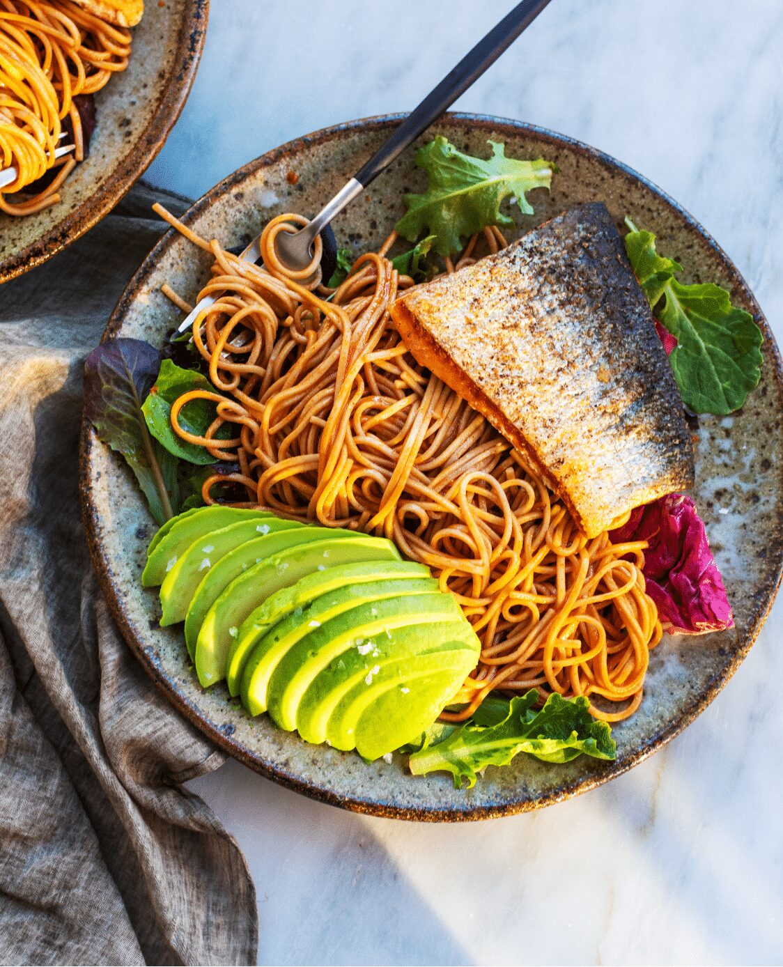 Salmon with Sweet and Spicy Soba Noodle Salad Pinterest