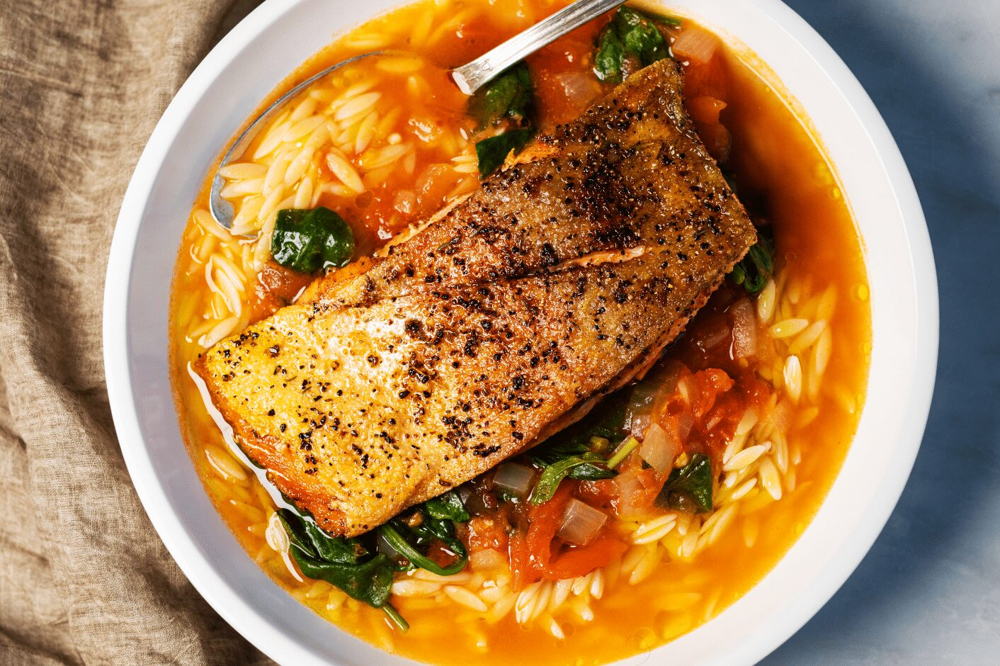 Seared Trout with Orzo and Tomato-Basil Broth