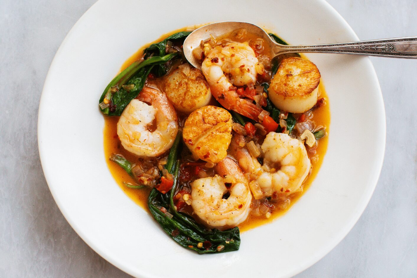 Shrimp and Scallop with Ramps