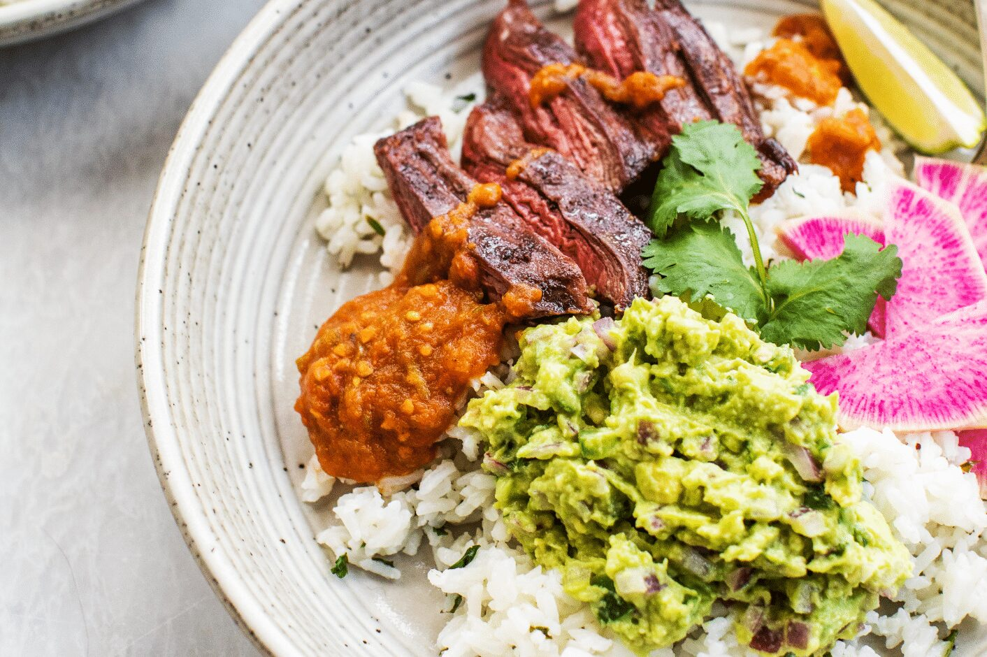 Skirt Steak Rice Bowl with Spicy Red Salsa