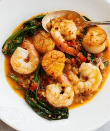 shrimp scallops with ramps