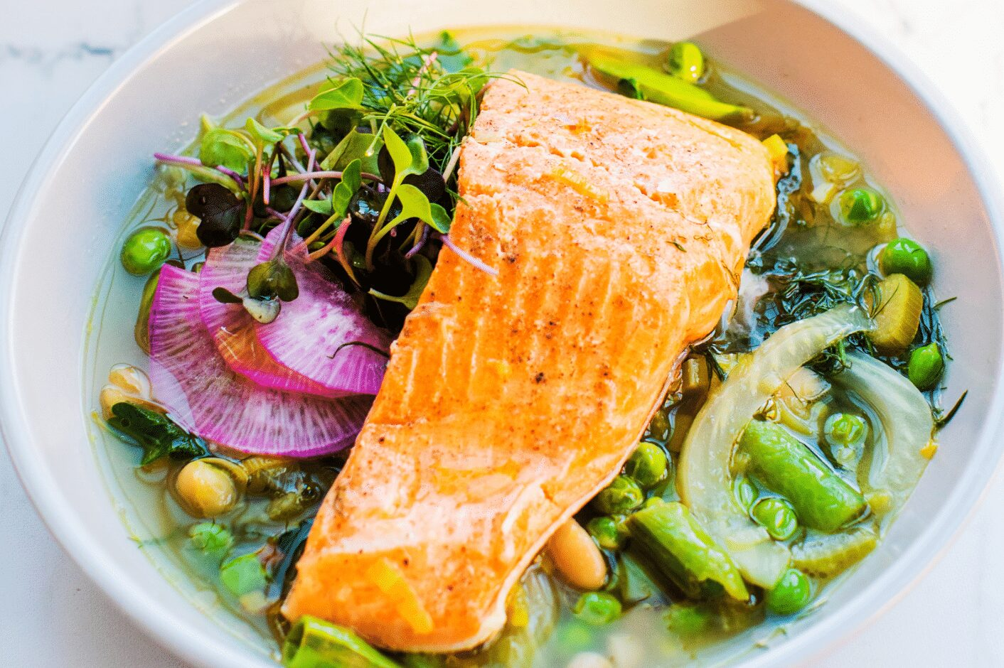 Easy Poached Trout with Spring Vegetables_Hero
