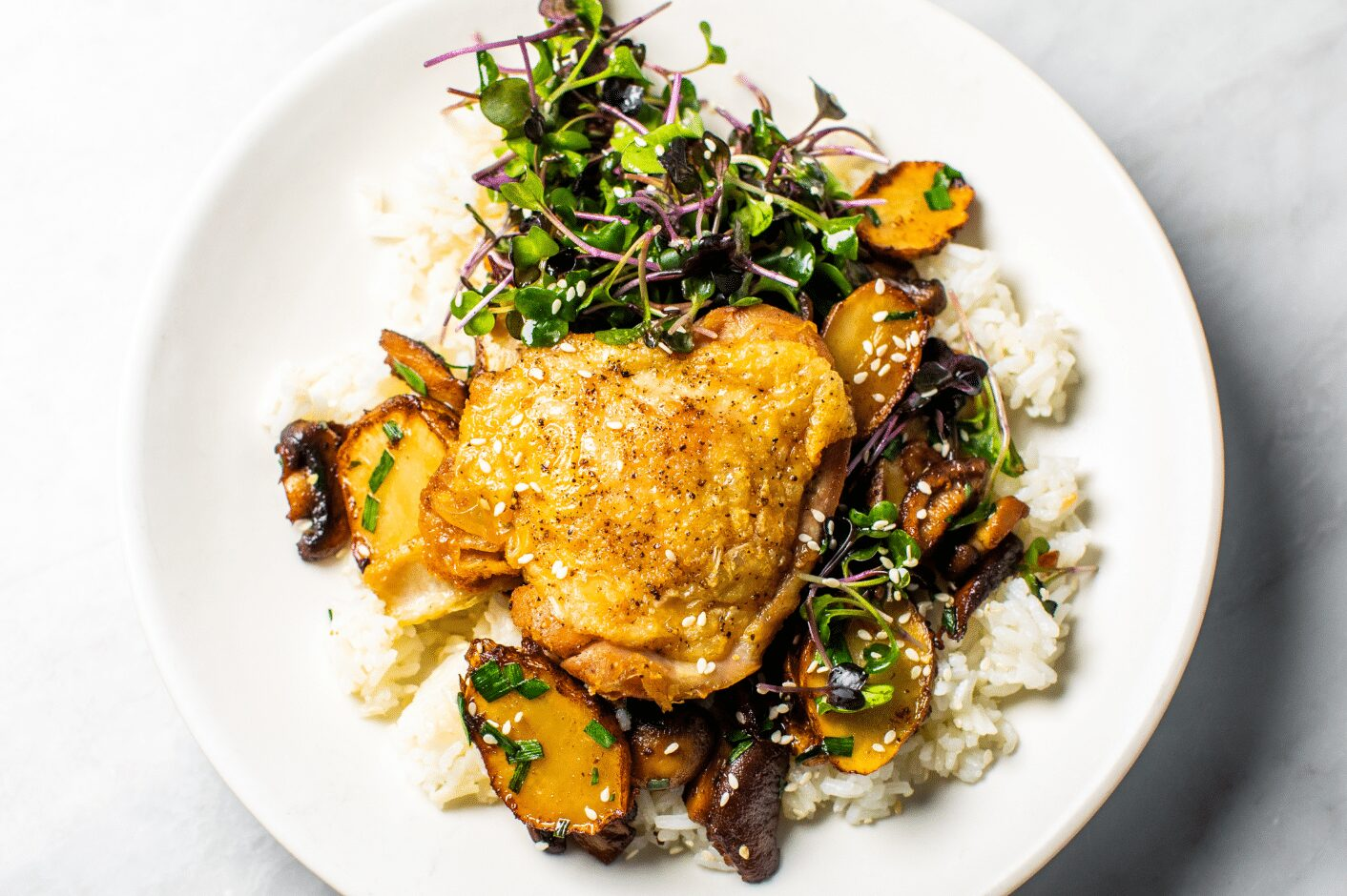 Pan-Roasted Chicken with Sunchokes and Mushrooms_Hero