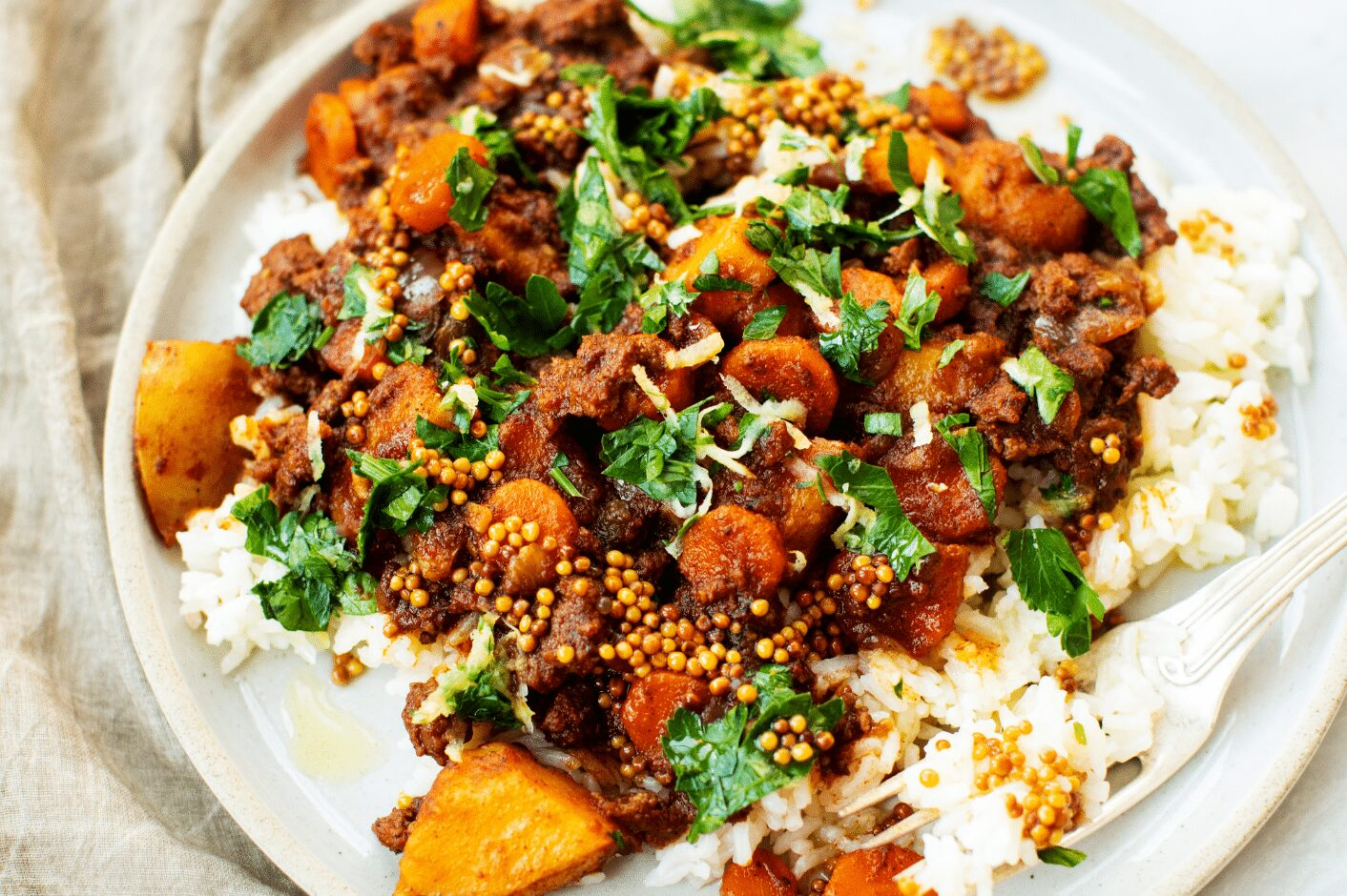 Spicy Ground Lamb Stew with Pickled Mustard Seeds_Hero