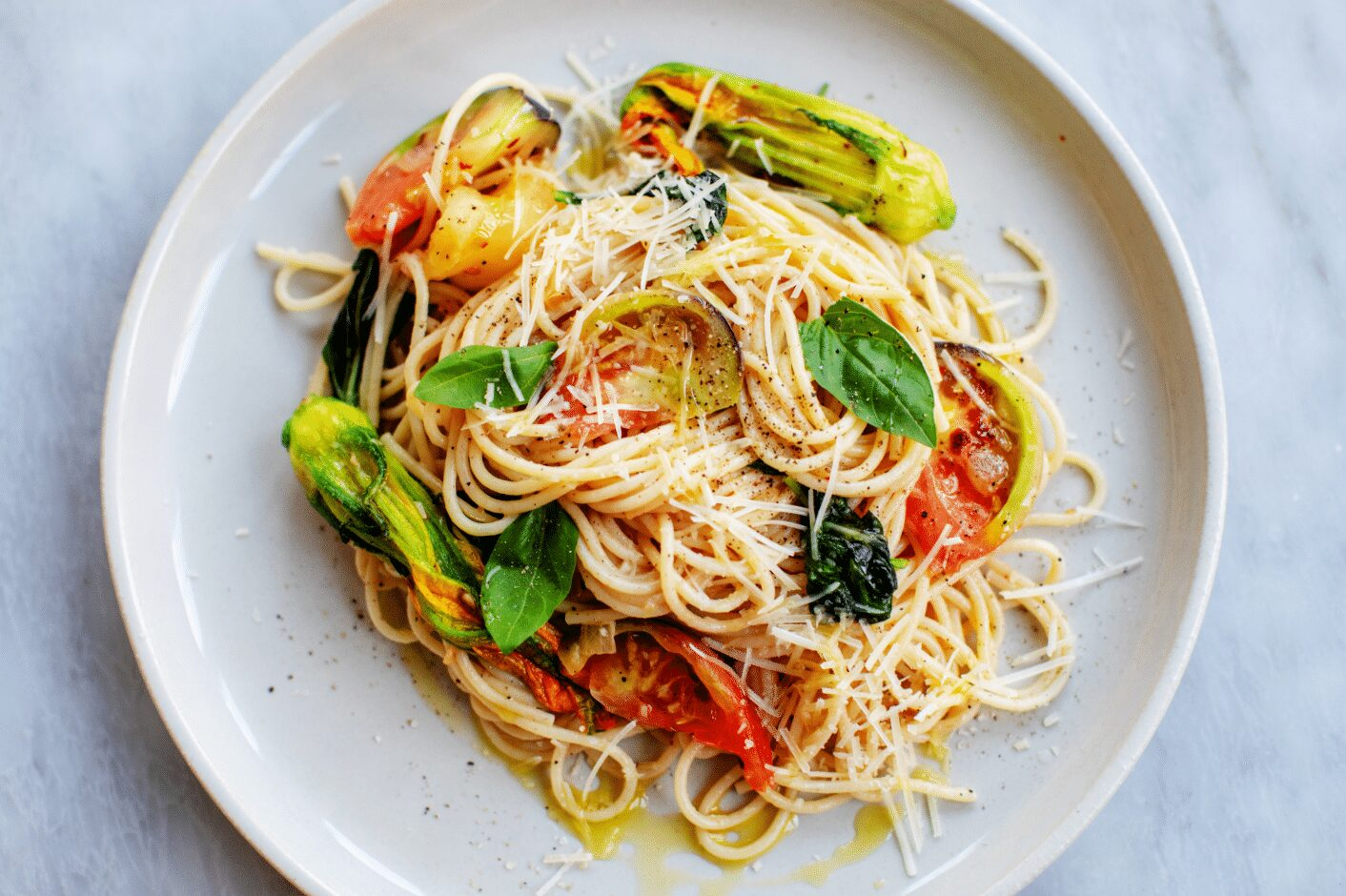 Summer Pasta with Squash Blossoms and Heirloom Tomatoes_Hero
