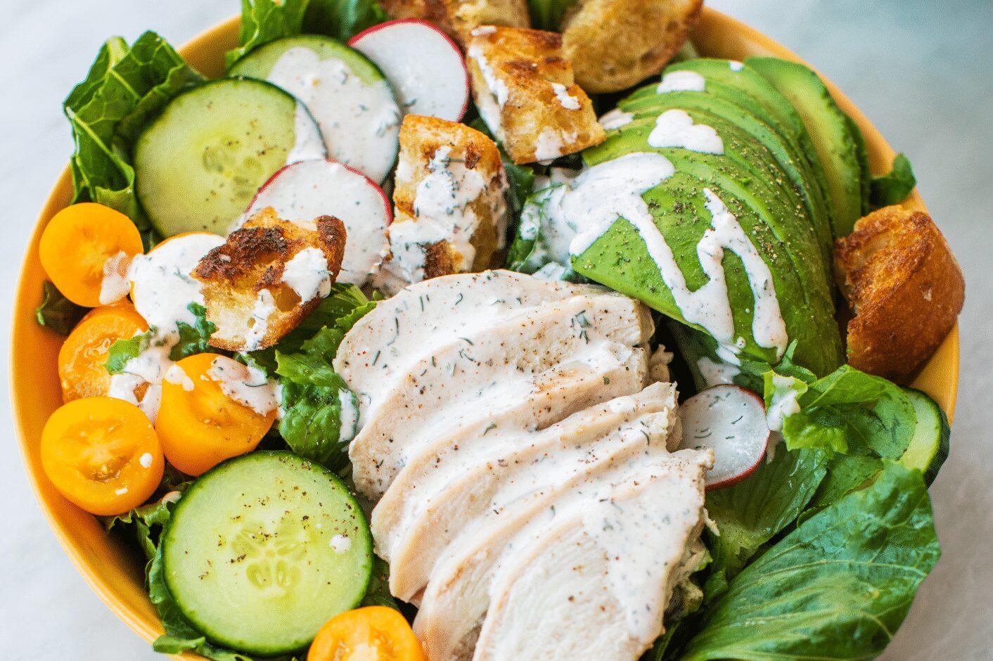 Poached Chicken Salad with Garden Vegetables_Hero